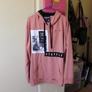 FIVE BY FIVE MASTERPIECE PINK AND BLACK HOODIE